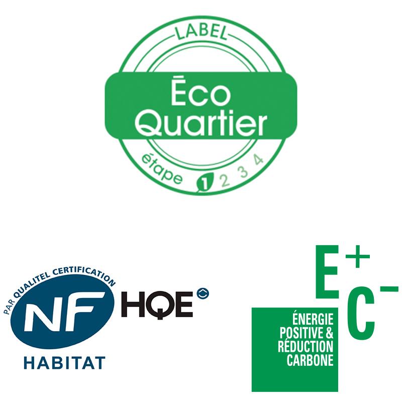 Logos NF Habitat HQE et E+ C-, et label Écoquartier